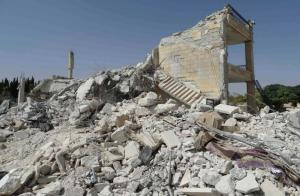 A general view shows damage at a base of the al Qaeda-linked Nusra Front, that was targeted by what activists said were U.S.-led air strikes in Reef al-Mohandeseen al-Thani in Aleppo